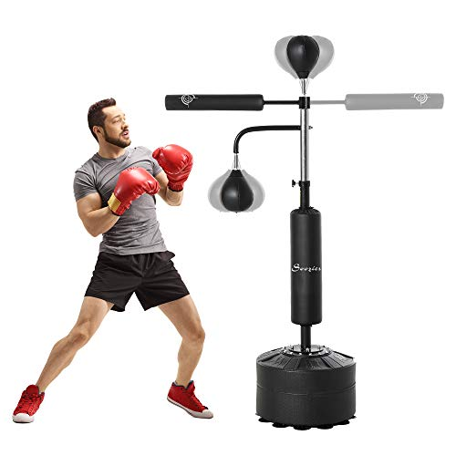 Soozier Punching Bag with Stand Heavy Duty Boxing Set Kickboxing Bag with 360° Reflex Bar Speed Ball Suction Cup Base Height Adjustable for Adult Youth, Home Office Gym