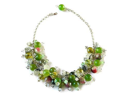 Collana girocollo con pietre naturali verdi e cristallo Swarovski