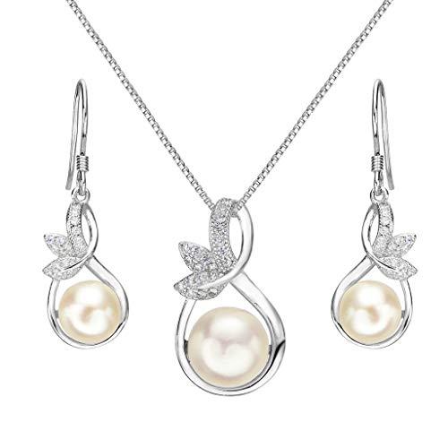 Clearine Donna Parure gioielli-Collana Orecchini Matrimonio da sposa Delicato Elegante con Argento e Perla Coltivata d'acqua dolce