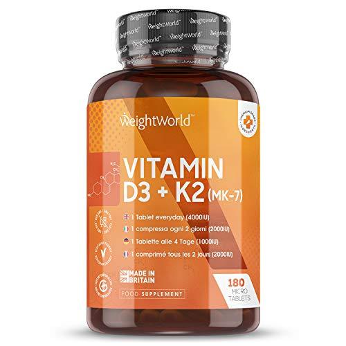 Vitamina D3 K2, 180 Comprimidos - Vitamina D3 4000UI, Vitamina K2 100 µg, Máxima Absorción y Biodisponibilidad MK7 99,7{e8b66a031dd206b9afa434c6851e37c25bd6d1698b23451d81e3a37b4347c596} All-Trans, Estimula Sistema Inmunológico y Favorece la Absorción de Calcio
