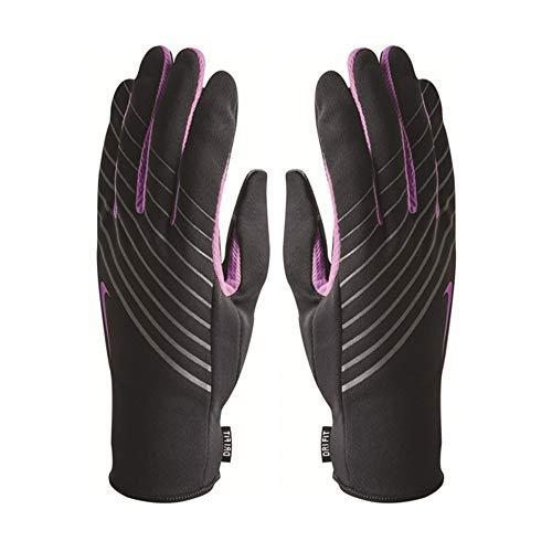 Nike Mujer–Luz Peso Tech Running guantes–negro, color morado, color negro, tamaño large