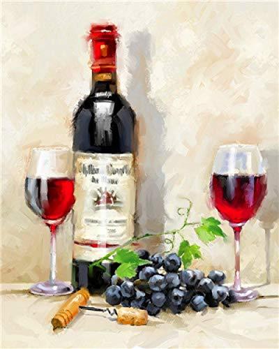 BUFULAIZHAN Pintar por Numeros Copa De Vino Tinto para Adultos Niños con Pincelesy Pinturas Decoraciones (40*50 Cm Sin Marco)