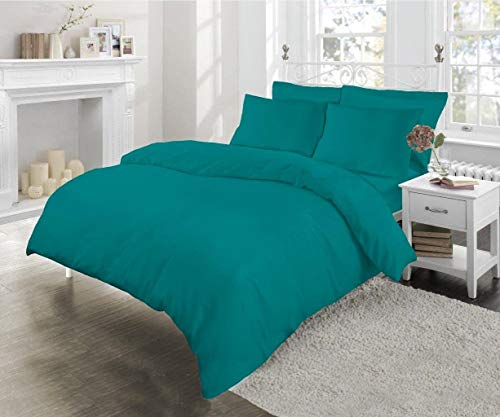 Sleep&Beyond Poly Cotton Easy Care Percale Duvet Cover Set (Jade, Single)