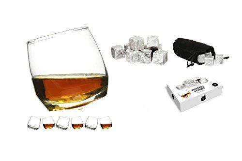 Sagaform Rocking Whiskey Glasses (Pack of 6) + Whiskey Stones