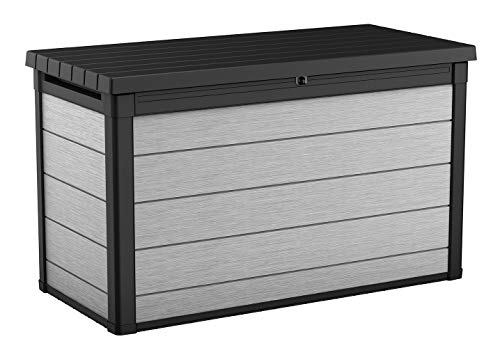 Keter Denali 200 Gallon Resin Large Deck Box-Organization and Storage for Patio Furniture, Outdoor Cushions, Garden Tools and Pool Toys, Grey & Black
