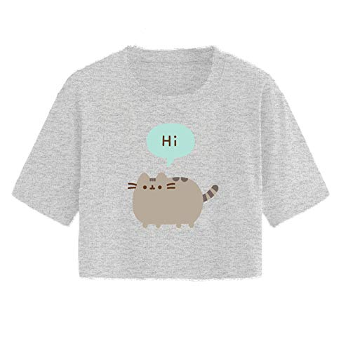 Pusheen Ladies The Cat Shirt The Cat Vintage Juniors Cropped Top T-Shirt (Heather Grey, X-Large)