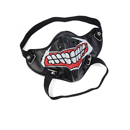 Máscara de miedo de Halloween, Gótico Steampunk Máscara del motorista hombres Moto cuero de la PU de la media cara máscara de Halloween Cosplay Máscara del partido del traje de la máscara de la pelícu