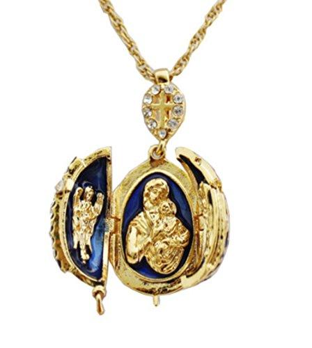 Pendentif Orthodoxe Oeuf Style Fabergé Bleu Ouvrant Croix et 3 Parties Contenant en Son Centre la Vierge et l'enfant entourée de 2 Anges OE19