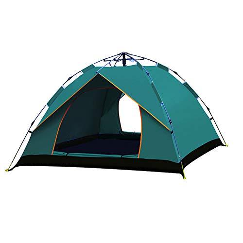 LXLTLB Tentes Instantanées, Tente De Randonnée pour 3-4 Personnes, Double Couche Automatique Étanche avec Fenêtre en Maille Ventilée, Installation Facile,Vert