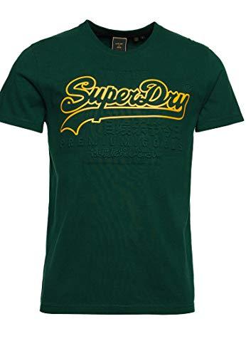 Superdry Hombre Camiseta con Logo Vintage en Relieve Pino Medio XXXL