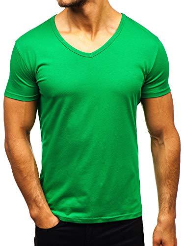 BOLF Herren T-Shirt Einfarbig mit V-Ausschnitt Kurzarmshirt Top Figurbetont Tee V-Neck Basic Männer Kurzarm Sportswear Crew Neck STEGOL AK888A Grün XL [3C3]