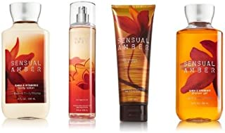 Bath & Body Works Signature Collection Sensual Amber Gift Set ~ Body Cream ~ Shower Gel ~ Body Lotion & Fragrance Mist. Lot of 4