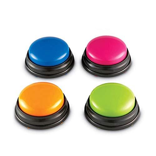 Roeam Buzzer mit Sound und Licht, Kleine Größe Sprachaufzeichnung Sound-Taste für Kinder Interaktives Spielzeug Antwortknöpfe, Orange + Pink + Blau + Grün (4 Stück)