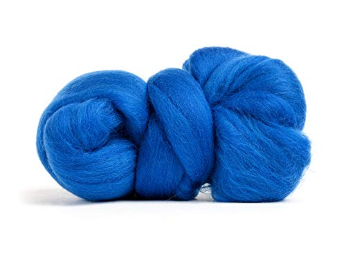 Merino Wool Roving, Premium Combed Top, Color Blue, 21.5 Micron, Perfect for Felting Projects, 100% Pure Wool, Made in The UK