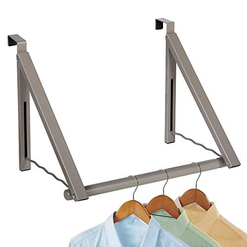 Over The Door Hook-Heavy Duty Clothes Hanger- Expandable/Foldable Closet Rod Clothes Rack - Perfect to Use for Drying Clothes, Organizing Closets, Storage, Etc. in Bathrooms/Bedrooms (Satin Nickel)