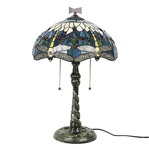 16 pulgadas de estilo Tiffany Lámpara de mesa Dragonfly Desk Light Creative Vitrales Lámparas de noche Lámparas de noche Iluminación de cocina de dormitorio moderno, con interruptor de cremallera