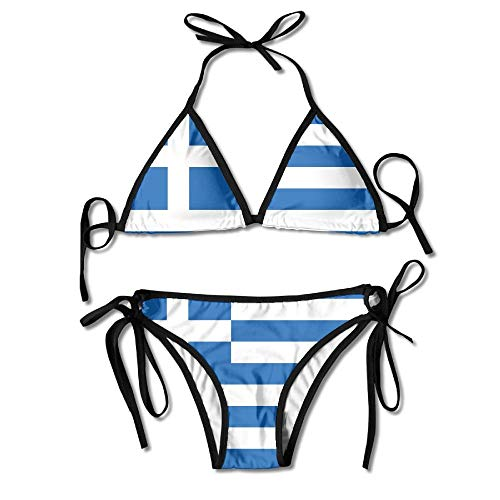 Flag of Greece Tie Back Bikini Swimsuit Push Up Two Pieces Bathing Sets for Women
