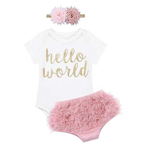 iEFiEL Baby Mädchen Kleidung Sets Prinzessin Kurzarm Body Strampler + Pumphose + Stirnband festlich Blumenkleid Kleinkind Weiß & Dunkle Rosa 62-68