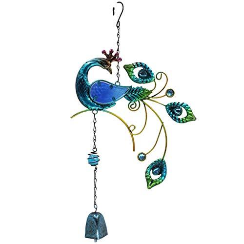 Nrpfell 3D Rotierende Wind Spiele Pfauen Form Metall Handwerk Bemalte Ornamente Kreative Glocken Anh?Nger Haus Dekoration-Blau