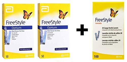 FreeStyle Optium, Tira para la Medición de Glucosa en Sangre, pack con 100...