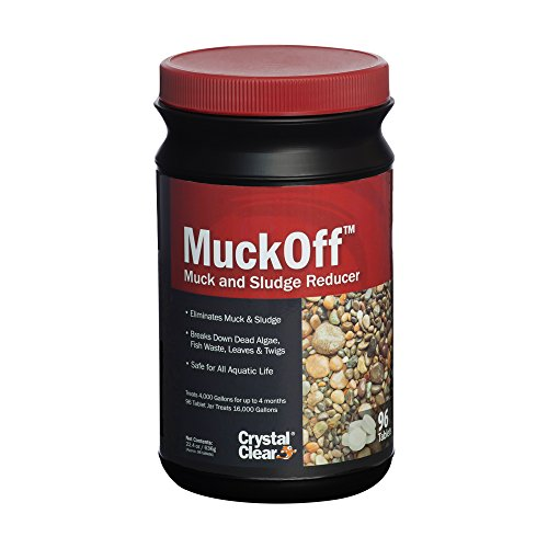 CrystalClear MuckOff - Muck & Sludge Reducer - 96 Tablets - Treats 4,000 Gallons for Up to 4 Months