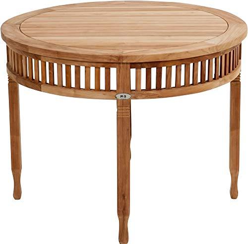 Ploß Ploß 1044690 Tisch rund Teak verziert Handarbeit 1 m Durchmesser