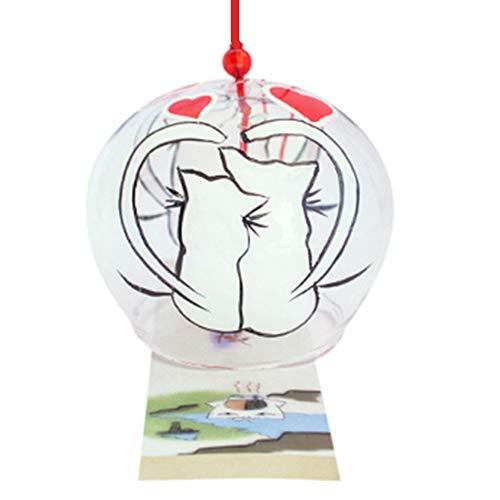 Japonais Carillon vent cloches en verre fait main cadeau d'anniversaire cadeau Saint Valentin Home universitaire de cuisine UN Spa un jardin universitaire fenêtre universitaire (Chats dans Love)