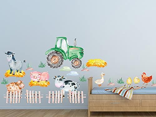 Wandtattoo Bauernhof Kinderzimmer Tiere, Wandsticker Pferd, Traktor, Bauernhofstiere / 100x57cm