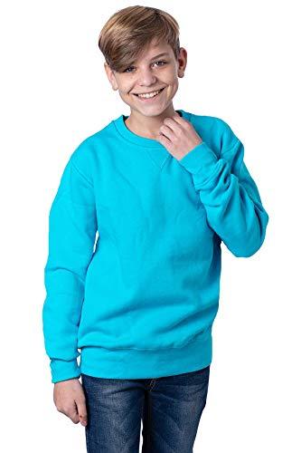 Mivaro Jungen Sweatshirt, Pullover ohne Kapuze für Kinder, Größe:134/140, Farbe:Türkis