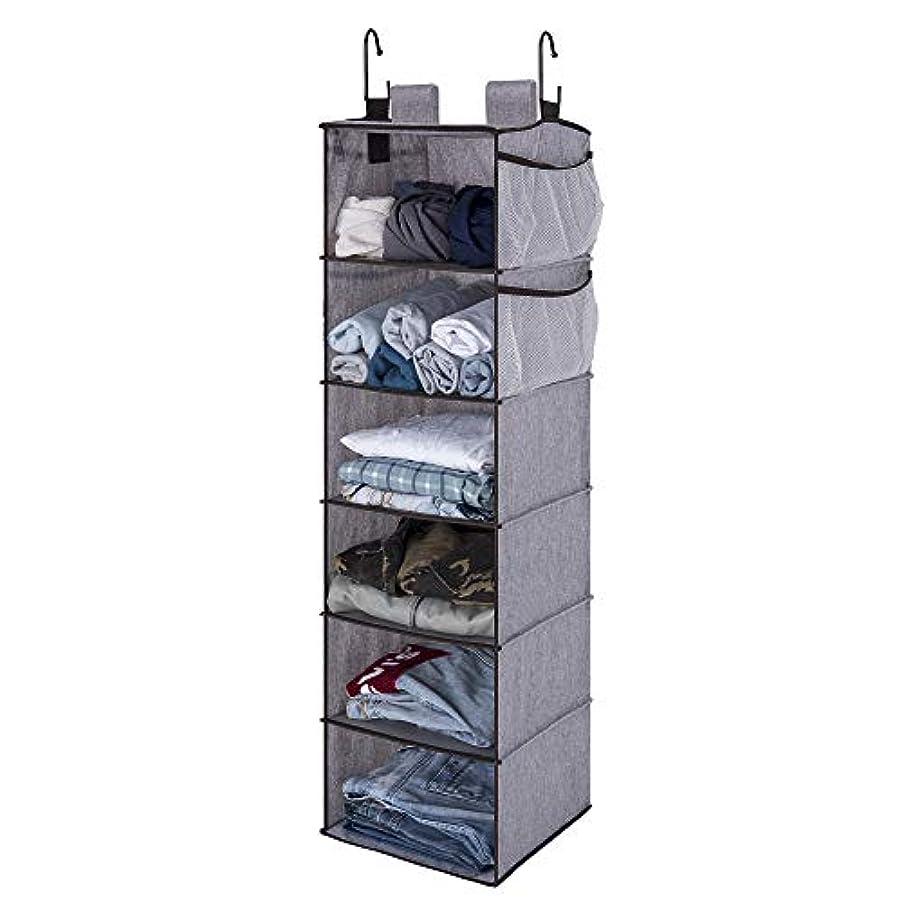 StorageWorks Hanging Closet Organizer, 6 Shelf Closet Organizer, 2 Ways Dorm Closet Organizers and Storage, Sweater Organizer for Closet, Gray, 12x12x42 inches
