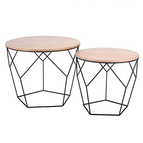 Ribelli Tavolino appoggio Legno tavolino Cestino Contenitore tavolino da Salotto Nero Bianco Chiaro, Tavolo in Metallo:Legno Chiaro/Nero