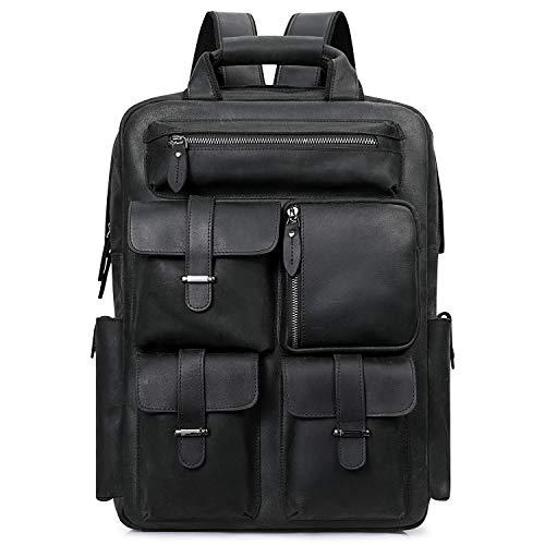 S-ZONE Men Vintage Genuine Leather Backpack Casual Daypack Multi Pockets Travel Bag