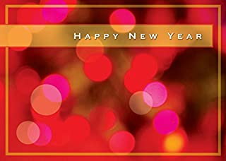 New Year Greeting Cards - N8004. Greeting Cards with Happy New Year on a Bright Lights Background. Box Set has 25 Greeting Cards and 26 White with Gold Foil Lined Envelopes.
