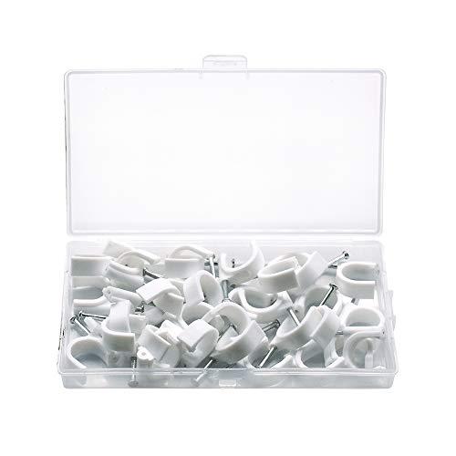 SENDILI 35 Stück Kabelschellen Nagelschellen - Weiß Kabelschelle Runde Kabelclips mit Nagel für Kabel, 16mm / 35 Stücke