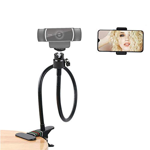"Live Stream Webcam Stand Gooseneck Phone Holder with 1/4"" Screw 360° Metal Thread Head Compatible for Logitech C920,C920e, C930,C930e,Brio4K,Gopro Hero 8/7/6/5, Mobile Phone by RICHOOSE"