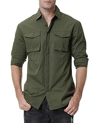 Alex Vando Mens Button Down Shirts Regular Fit Long Sleeve Cotton Casual Dress Shirt,Army Green,M