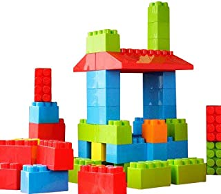 MassBricks Jumbo Plastic Building Blocks - 86 Pieces Giant Toddler Bricks Kids, Boys, Girls Age 1 - 8 Play Large Educational, Construction, Stacking Toys BPA Free Storage bin for (1 Pack) 2019