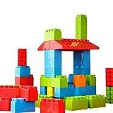 MassBricks Jumbo Plastic Building Blocks - 86 Pieces Giant Toddler Bricks Kids, Boys, Girls Age 1 - 8 Play Large Educational, Construction, Stacking Toys BPA Free Storage bin for (1 Pack)