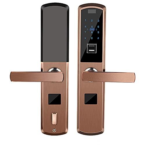 ストレート指紋ロック、家庭用盗難防止ドア用のスマート パスワード ロック、ドア電子磁気カード モバイル アプリのロック解除、ホテルに適しています,Red bronze
