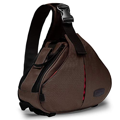 Kameratasche,CADeN Camera Sling Crossbag Fototasche Kamera Umhängetasche Kompatibel mit Canon Nikon Sony 1 DSLR/SLR 2 Objektiv Stativ(Kaffee)