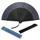 Abanicos de mano plegables negros MEZOOM, abanico plegable de bambú con abanico de seda con borlas para decoración de pared, fiesta de cumpleaños, boda, espectáculos de baile, regalos