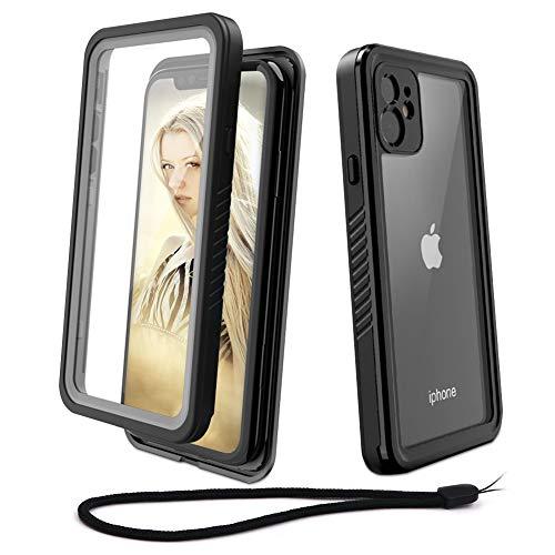 Beeasy Funda iPhone 11 Antigolpes,IP68 Certificado Sumergible Carcasa,360 Grados Protección con Protector de Pantalla Incorporado,Militar Antichoque Estanca Impermeable Antipolvo,Negro + Gris