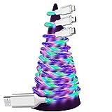 Agedate USB Cable Streamer Multi,1.25M PVC 3 en 1 LED Flowing Lights Chargeur multiple et câble de données Type C Micro USB pour Samsung S10,Huawei P30,Sony,LG,Kindle-Coloré