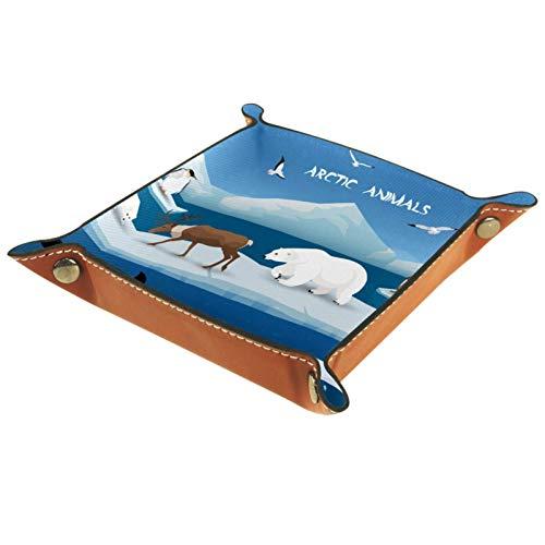 Caja de almacenamiento pequeña, bandeja de valet para hombre,Animales árticos oso polar ,Organizador de cuero para llaves de caja de monedas