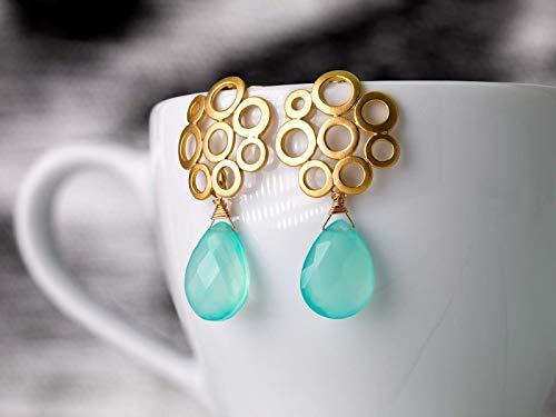 Aqua-Chalcedon Ohrringe blau-grün türkis gold, Retro-Ohrstecker rund matt-vergoldet, Geschenk für Sie, Edelstein-Schmuck