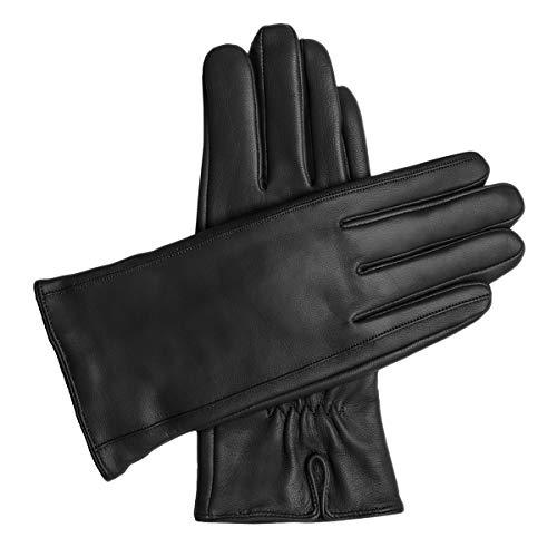 Downholme – Damenhandschuhe aus veganem Kunstleder mit warmer Fütterung – Touchscreen-kompatibel (Schwarz, M)