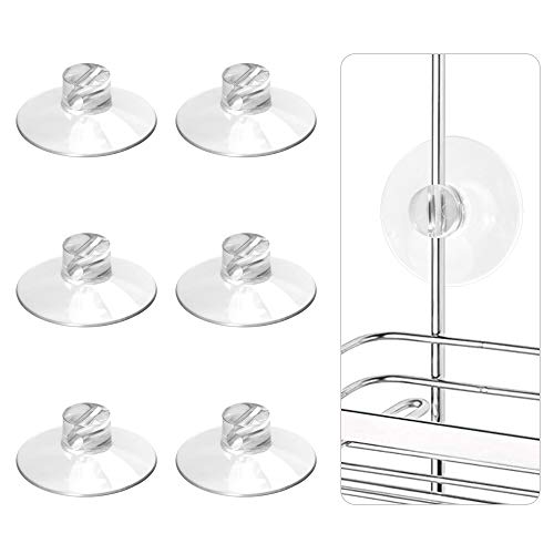 YeeBeny 6PCS Shower Caddy Connectors Suction Cups for Bathroom, Heavy Strength Large Suction Cups Without Hooks, Replacement Suction Cups Compatible with Zenna Home, Simple Houseware, GeekDigg