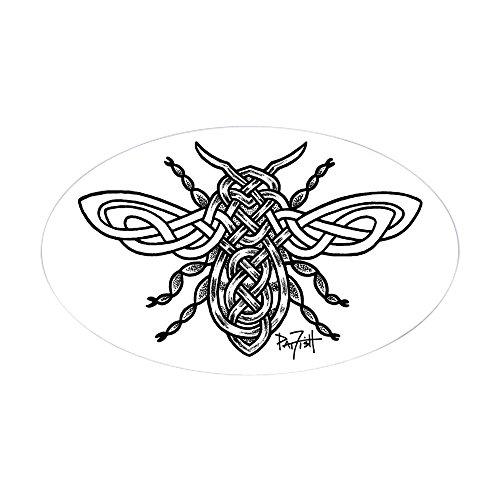 CafePress Celtic Knotwork Bee Black Lines Sticker Oval Bumper Sticker, Euro Oval Car Decal