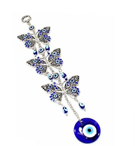 Decoración de pared turca con diseño de mano Jamsa contra el mal de ojo para colgar en la pared o en el coche, color azul, metal, 3 butterfly-flower, 26cm*10cm