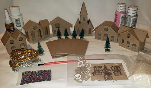 Putz Style 6 Mini Vintage Houses - DIY Complete Kit - Little Village Houses - Pink/Gray
